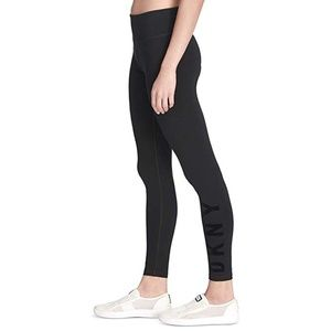 Dkny High Waist Legging With Leg Logo Black NWT XL
